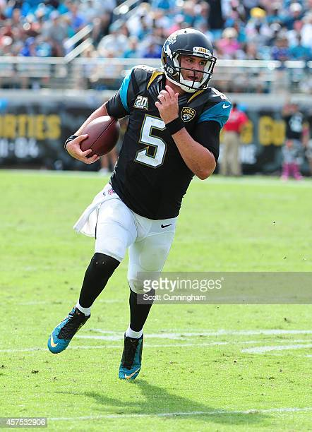 Blake Bortles of the Jacksonville Jaguars scrambles against the Cleveland Browns at EverBank Field on October 19 2014 in Jacksonville Florida