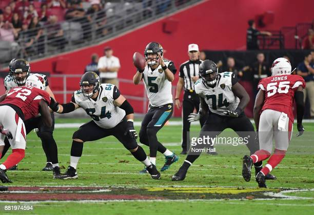 Blake Bortles of the Jacksonville Jaguars takes the snap from the shotgun formation as teammates Cam Robinson and Chris Reed pass block against the...