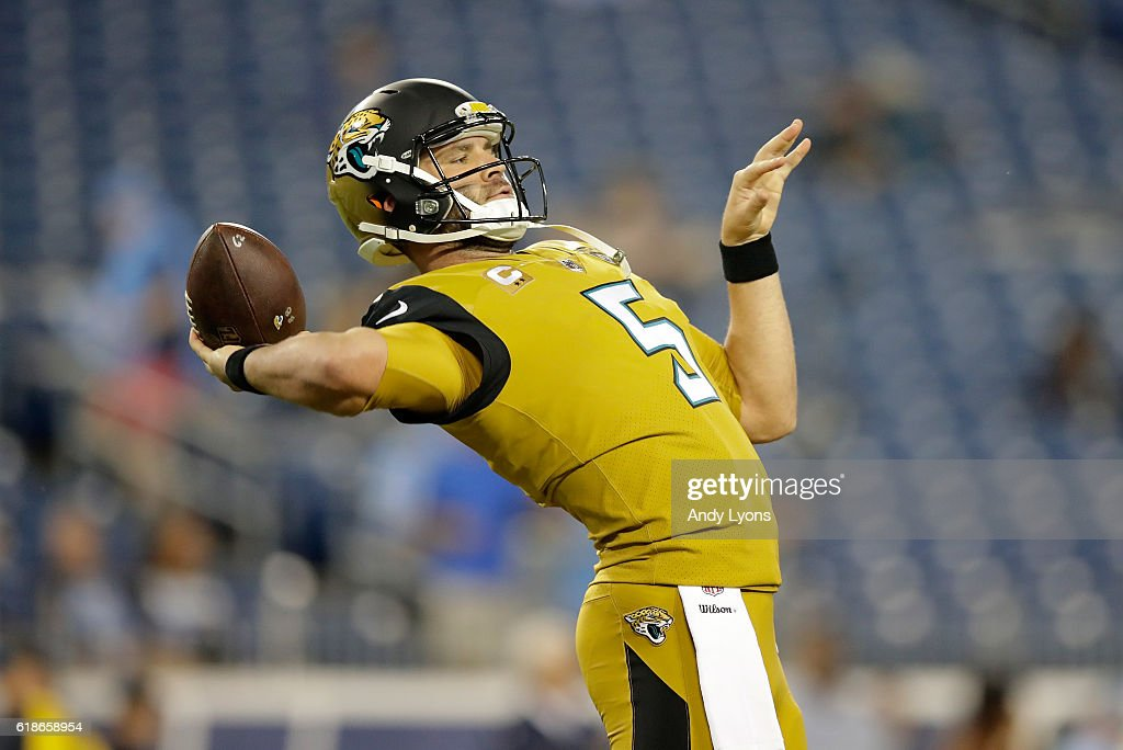 Blake Bortles #5 of the Jacksonville Jaguars throws a pass before the game against the Tennessee Titans at Nissan Stadium on October 27, 2016 in Nashville, Tennessee.
