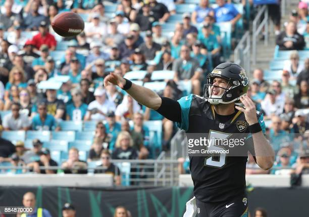 Blake Bortles of the Jacksonville Jaguars throws a pass in the first half of their game against the Indianapolis Colts at EverBank Field on December...