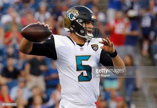 Blake Bortles of the Jacksonville Jaguars throws against the New England Patriots in the first half of a preseason game at Gillette Stadium on August...