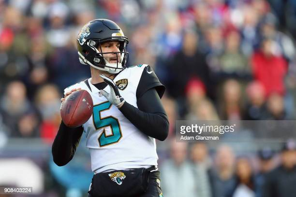 Blake Bortles of the Jacksonville Jaguars throws in the first quarter of the AFC Championship Game against the New England Patriots at Gillette...