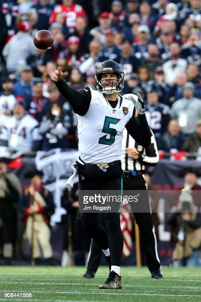 Blake Bortles of the Jacksonville Jaguars throws in the second quarter of the AFC Championship Game against the New England Patriots at Gillette...