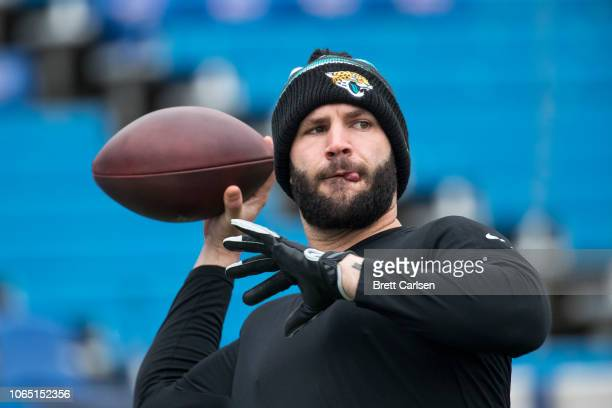 Blake Bortles of the Jacksonville Jaguars warms up before the game against the Buffalo Bills at New Era Field on November 25 2018 in Orchard Park New...