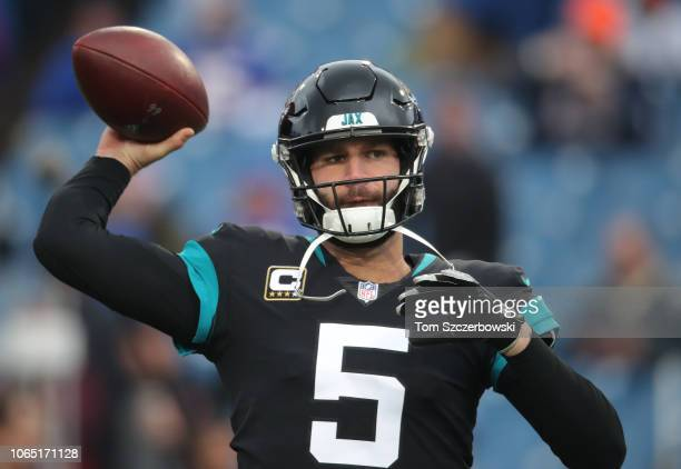 Blake Bortles of the Jacksonville Jaguars warms up before the start of NFL game action against the Buffalo Bills at New Era Field on November 25 2018...