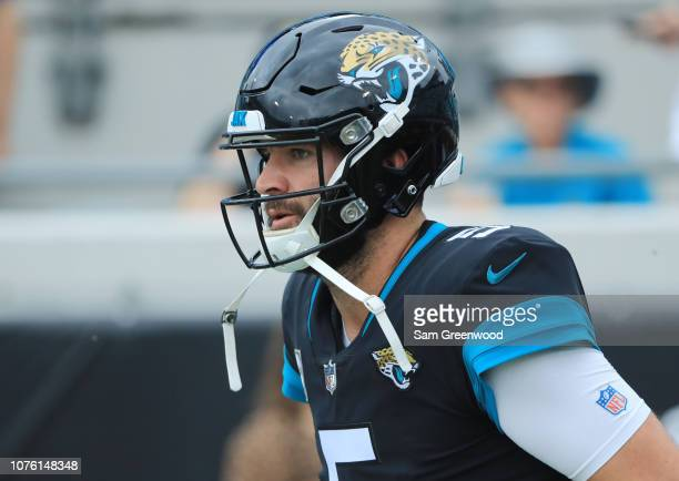 Blake Bortles of the Jacksonville Jaguars warms up on the field prior to the start of their game against the Indianapolis Colts at TIAA Bank Field on...