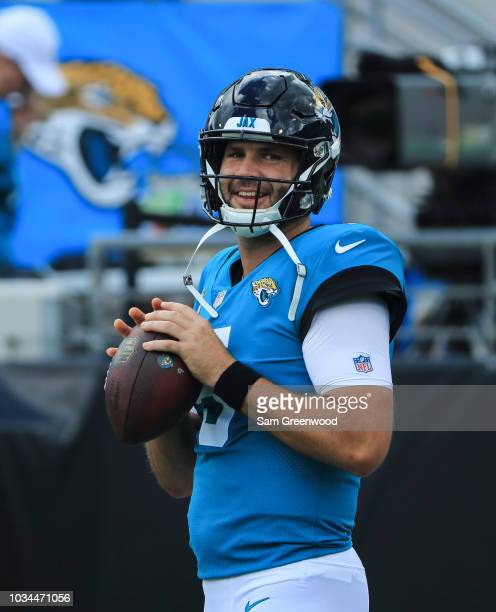 Blake Bortles of the Jacksonville Jaguars warms up prior to the game against the New England Patriots at TIAA Bank Field on September 16 2018 in...