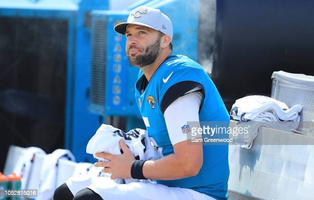 Blake Bortles of the Jacksonville Jaguars watches the action from the bench during the game against the Houston Texans at TIAA Bank Field on October...
