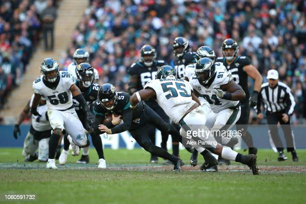 Blake Bortles of the Jaguars is tackled during the NFL International Series against the Philadelphia Eagles at Wembley Stadium on October 28 2018 in...