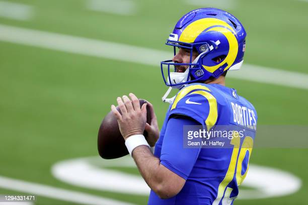 Blake Bortles of the Los Angeles Rams warms up before the game against the Arizona Cardinals at SoFi Stadium on January 03, 2021 in Inglewood,...