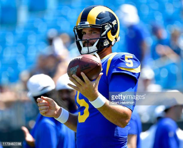 Blake Bortles of the Los Angeles Rams with the ball during their game against the Carolina Panthers at Bank of America Stadium on September 08, 2019...