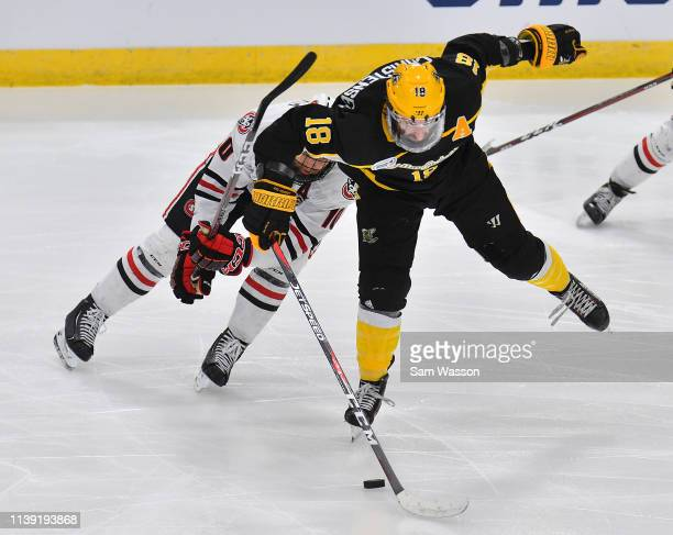 Blake Christensen of the American International Yellow Jackets and Jon Lizotte of the St Cloud State Huskies battle for the puck during an NCAA...