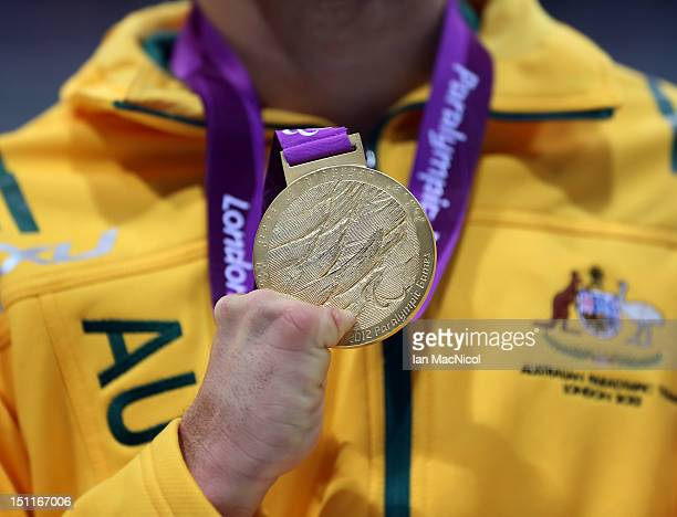 Blake Cochrane of Australia holds his medal from the 4x100m Freestyle 34 Points Relay on day four of the London 2012 Paralympic Games at the Aquatics...