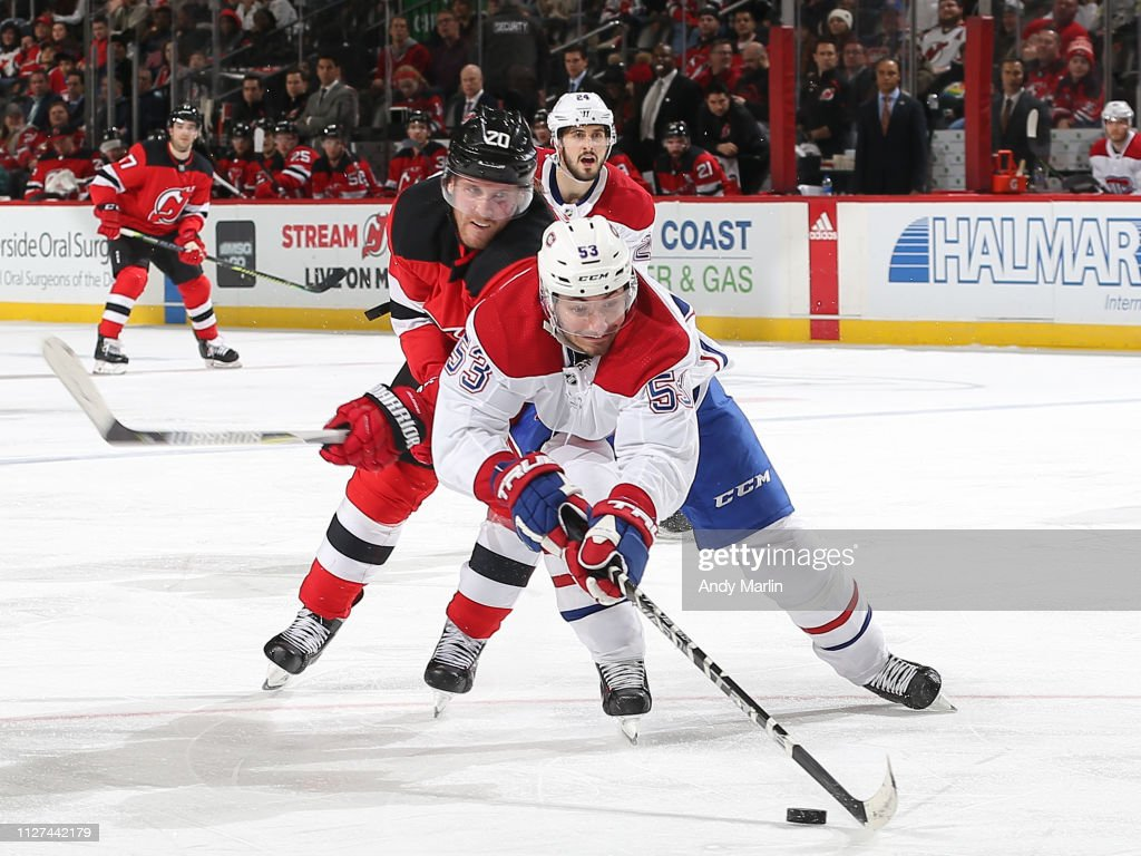 low priced 2ece2 6d996 Blake Coleman of the New Jersey Devils and Victor Mete of ...