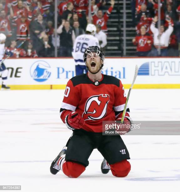 Blake Coleman of the New Jersey Devils celebrates his empty net goal at 1902 of the third period against the Tampa Bay Lightning in Game Three of the...