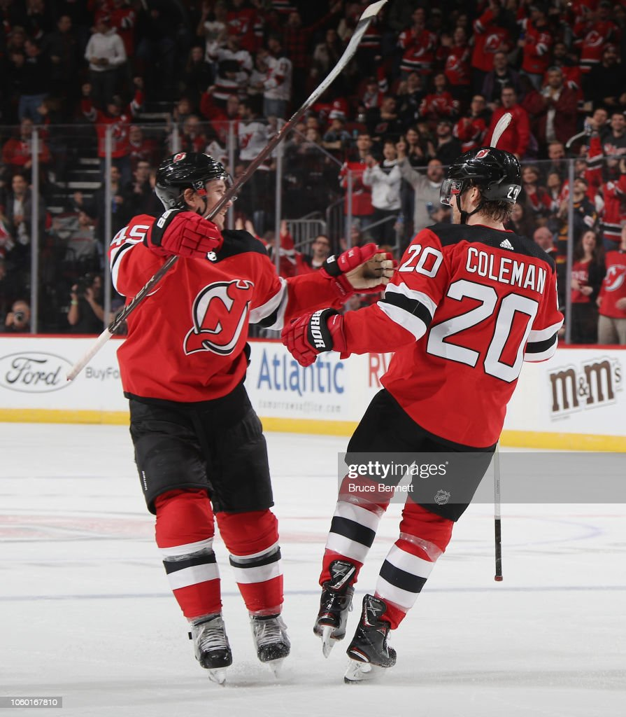 bfbdfe85 Blake Coleman of the New Jersey Devils celebrates his second period ...