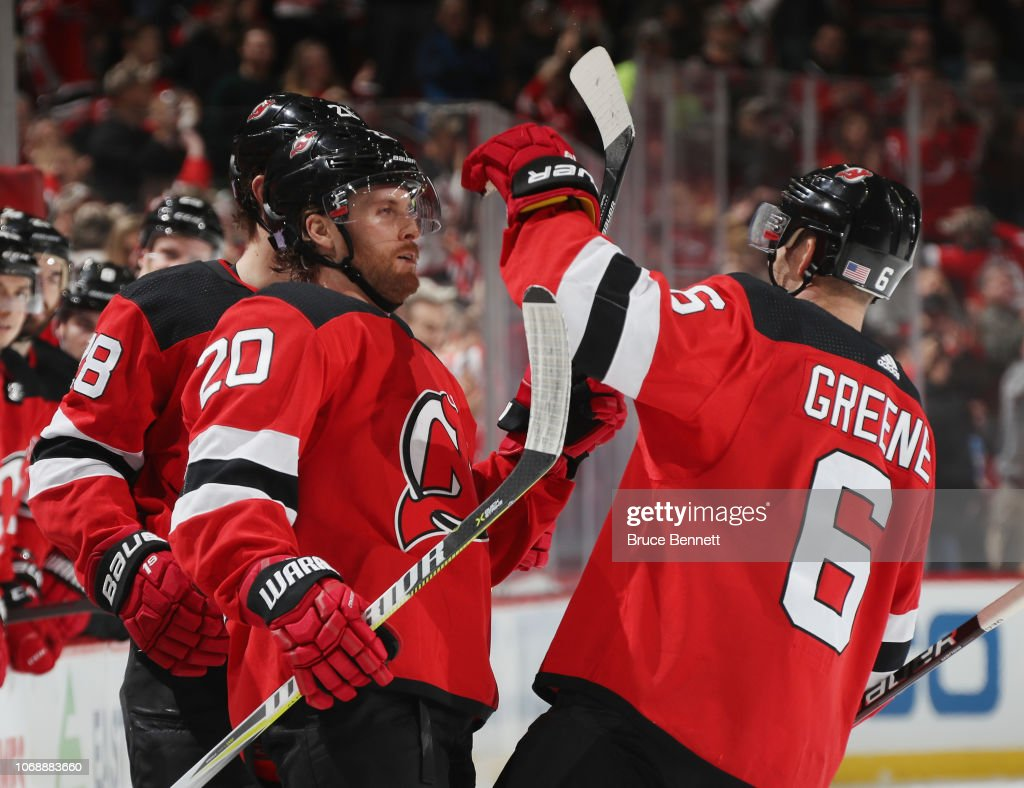 2f75a058f Blake Coleman of the New Jersey Devils celebrates his shorthanded ...