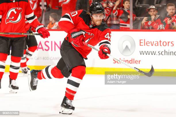 Blake Coleman of the New Jersey Devils during warm ups prior to taking on the Philadelphia Flyers during warm ups prior to taking on the Philadelphia...