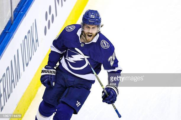 Blake Coleman of the Tampa Bay Lightning celebrates after scoring a goal at 6:39 against the Columbus Blue Jackets during the first period Game Five...
