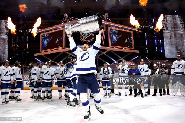 Blake Coleman of the Tampa Bay Lightning hoists the Stanley Cup overhead after the Tampa Bay Lightning defeated the Dallas Stars 2-0 in Game Six of...