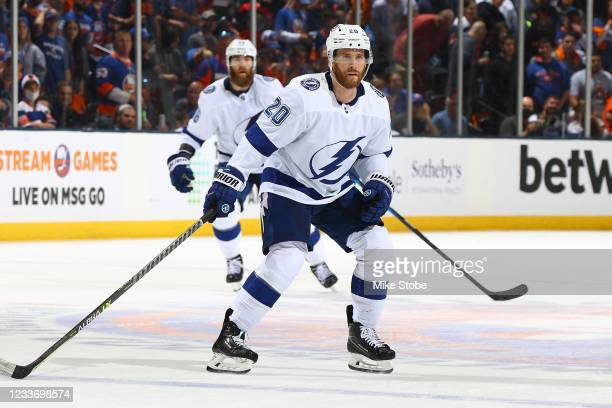 Blake Coleman of the Tampa Bay Lightning in Game Six of the Stanley Cup Semifinals of the 2021 Stanley Cup Playoffs at Nassau Coliseum on June 23,...