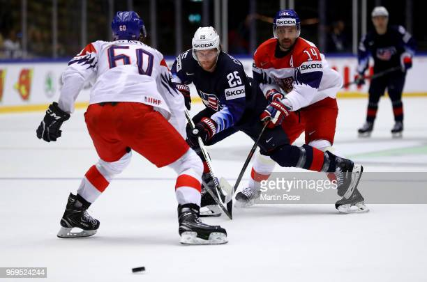 Blake Coleman of the United States and Tomas Plekanec of Czech Republic battle for the puck during the 2018 IIHF Ice Hockey World Championship...