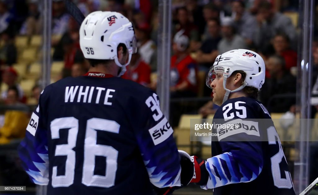 Blake Coleman #25 of United States celebrate with team mate Colin White after he scores the 7thgoal during the 2018 IIHF Ice Hockey World Championship group stage game between United States and Korea at Jyske Bank Boxen on May 11, 2018 in Herning, Denmark.