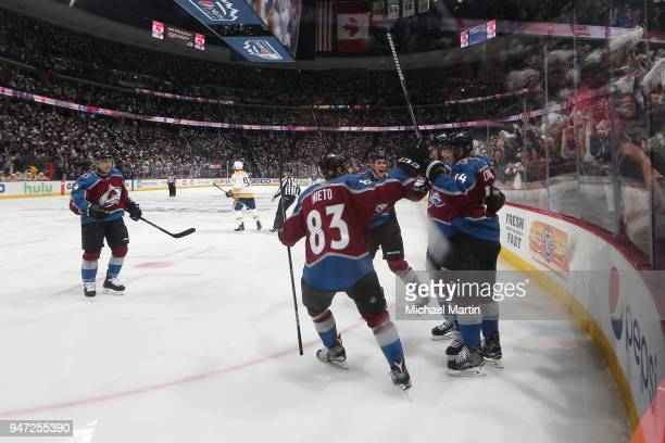 Blake Comeau of the Colorado Avalanche celebrates a goal against the Nashville Predators with teammates Tyson Barrie Matt Nieto Nikita Zadorov and...