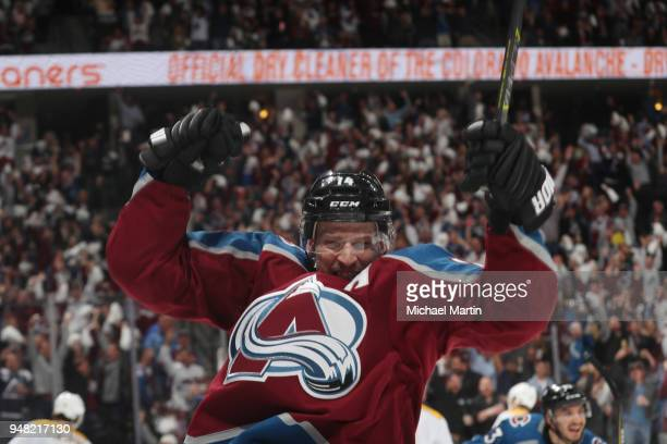 Blake Comeau of the Colorado Avalanche celebrates a goal against the Nashville Predators in Game Three of the Western Conference First Round during...