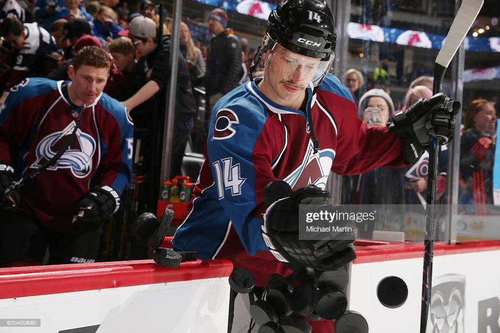 Blake Comeau #14 of the Colorado Avalanche takes to the ice prior to the game against the Edmonton Oilers at the Pepsi Center on November 23, 2016 in Denver, Colorado.