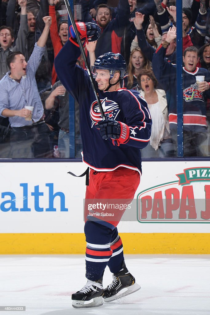 Blake Comeau #14 of the Columbus Blue Jackets reacts after scoring a goal during the third period of a game against the Phoenix Coyotes on April 8, 2014 at Nationwide Arena in Columbus, Ohio. Columbus defeated Phoenix 4-3 in overtime.