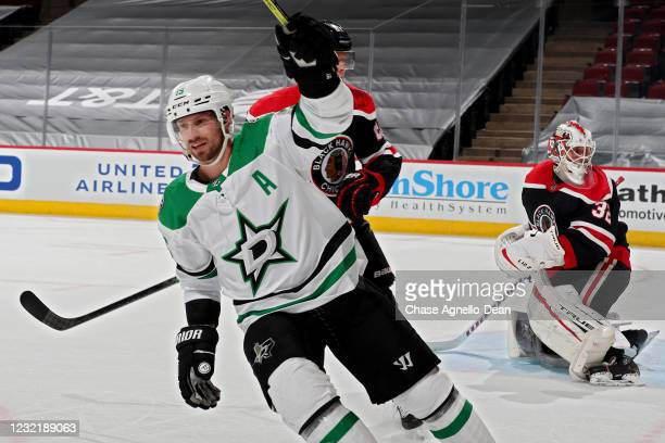 Blake Comeau of the Dallas Stars celebrates after scoring a goal in the second period against the Chicago Blackhawks at the United Center on April...