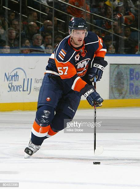 Blake Comeau of the New York Islanders skates against the Philadelphia Flyers on March 29, 2008 at Nassau Coliseum in Uniondale, New York. The Flyers...