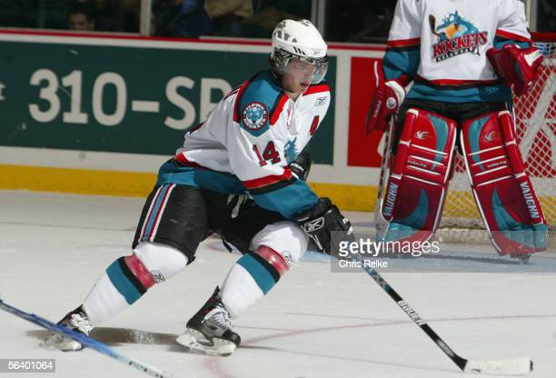 Blake Comeau#14 of the Kelowna Rockets skates against the Vancouver Giants during their WHL game on October 21 2005 at the Pacific Coliseum in...