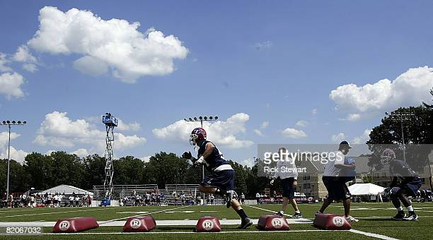 Blake Costanzo and Alvin Bowen of the Buffalo Bills do linebacker drills during Training Camp on July 25 2008 at Saint John Fisher College in...