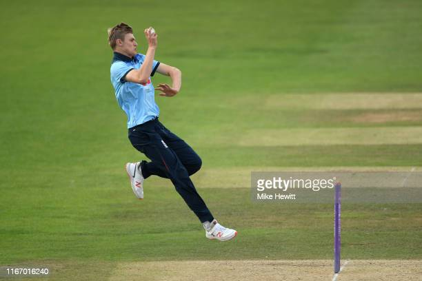 Blake Cullen of England U19 in action during an Under 19 TriSeries match between England U19 and India U19 at the County Ground on August 09 2019 in...