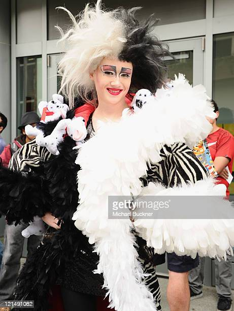 Blake Danford a fan dressed as Cruella de Vil attends Day One of Disney's D23 Expo 2011 at the Anaheim Convention Center on August 19 2011 in Anaheim...