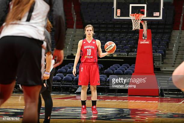 Blake Dietrick of the Washington Mystics handles the ball against the Minnesota Lynx during an Analytic Scrimmage at the Verizon Center on May 26...