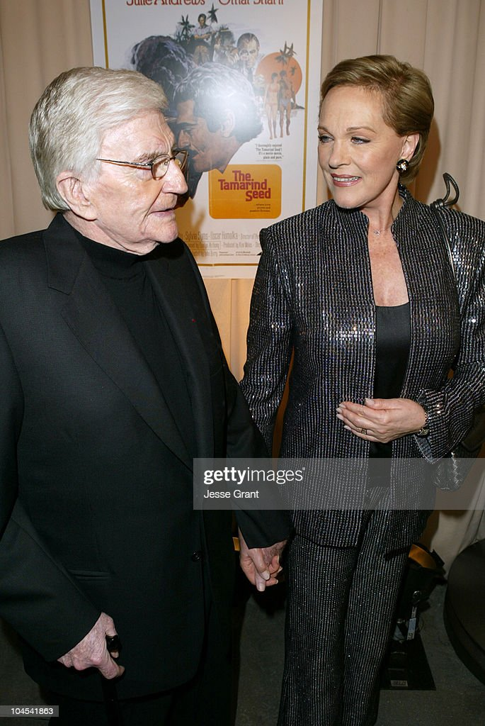 Blake Edwards and Julie Andrews during Reception for Blake Edwards, Honorary Academy Award Recipient - February 26, 2004 at The Annex, Hollywood & Highland in Hollywood, California, United States.