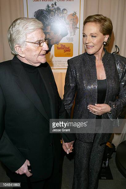 Blake Edwards and Julie Andrews during Reception for Blake Edwards Honorary Academy Award Recipient February 26 2004 at The Annex Hollywood Highland...