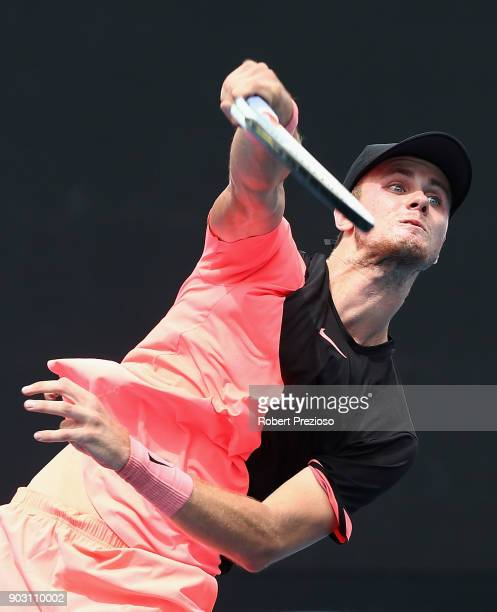 Blake Ellis of Australia competes in his first round match against Stefan Kozlov of United States during 2018 Australian Open Qualifying at Melbourne...