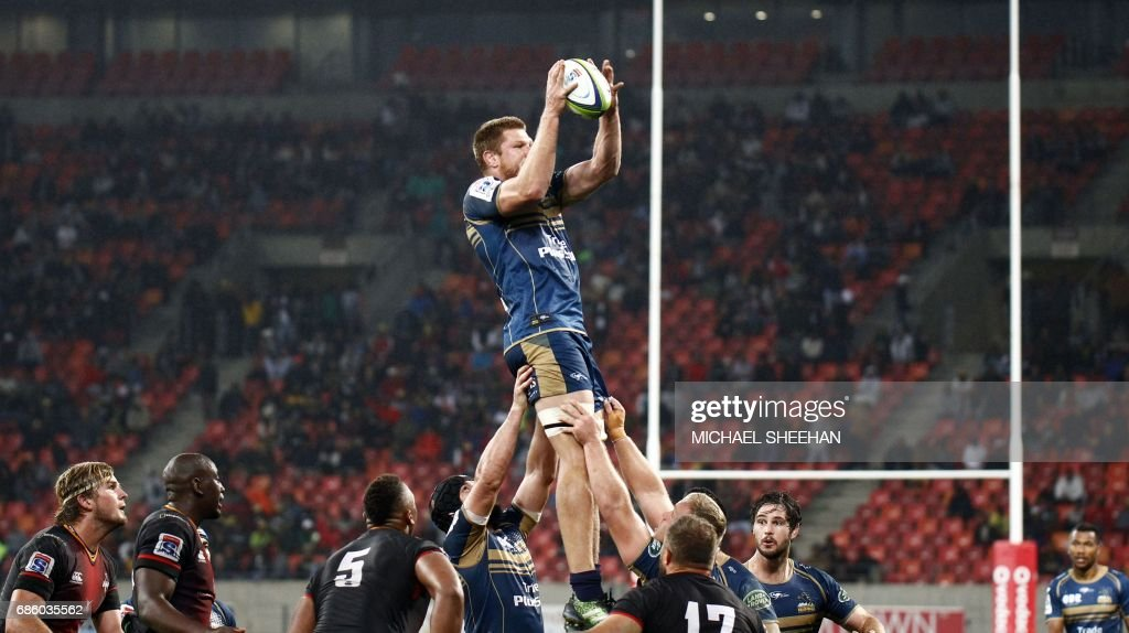 Blake Enever of the Brumbies wins a line out during the Super Rugby match between the Southern Kings and Brumbies at the Nelson Mandela Bay stadium on May 20, 2017 in Port Elizabeth, South Africa. /