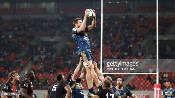 Blake Enever of the Brumbies wins a line out during the Super Rugby match between the Southern Kings and Brumbies at the Nelson Mandela Bay stadium...