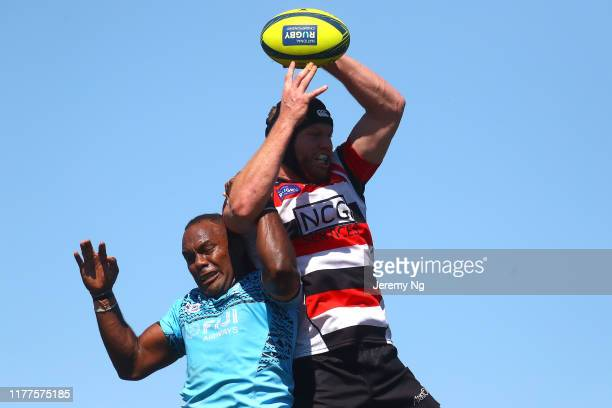 Blake Enever of the Vikings contest a lineout during the round 5 NRC match between the Canberra Vikings and Fiji Drua at Viking Park on September 28...