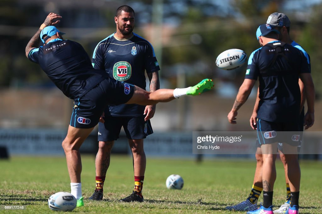Blake Ferguson and Andrew Fifita during a New South Wales Blues Origin training session at Cudgen Leagues Club on May 28, 2017 in Kingscliff, Australia.
