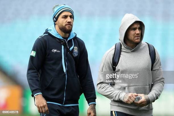 Blake Ferguson and Josh Dugan arrive for a New South Wales Blues State of Origin captain's run at ANZ Stadium on June 20 2017 in Sydney Australia