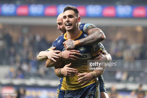 Blake Ferguson and Ryan Matterson of the Eels celebrate Ryan Matterson scoring a try during the round five NRL match between the Parramatta Eels and...