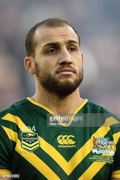 Blake Ferguson of Australia looks on during the national anthems ahead of Four Nations match between the England and Australian Kangaroos at Olympic...