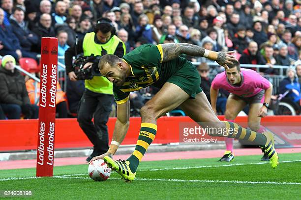 Blake Ferguson of Australia scores the opening try during the Four Nations Final between New Zealand and Australia at Anfield on November 20 2016 in...