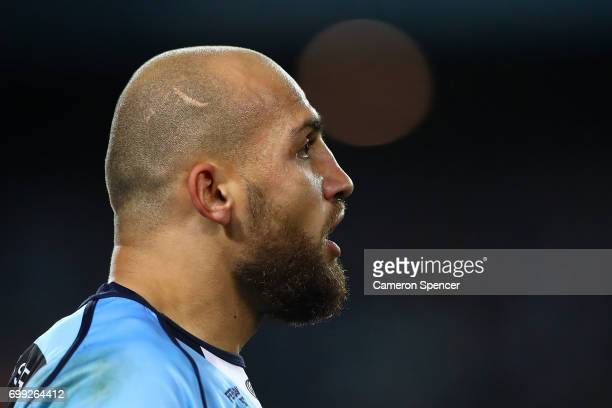 Blake Ferguson of the Blues looks onl during game two of the State Of Origin series between the New South Wales Blues and the Queensland Maroons at...